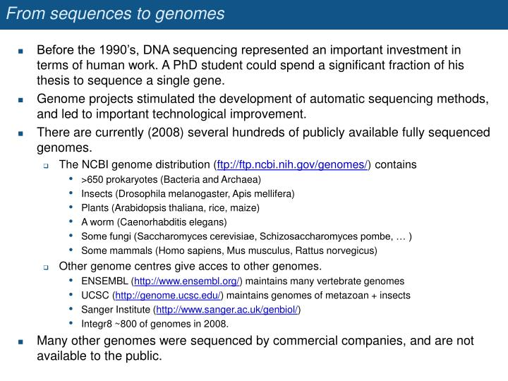 From sequences to genomes