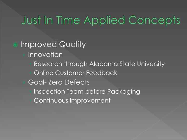 Just In Time Applied Concepts