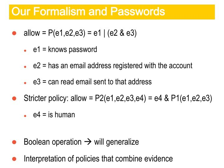 Our Formalism and Passwords