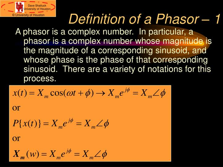 Definition of a Phasor – 1