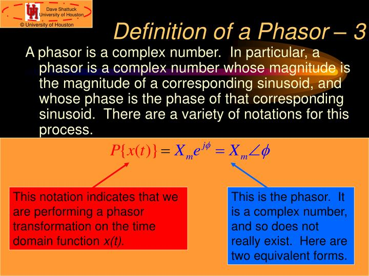 Definition of a Phasor – 3