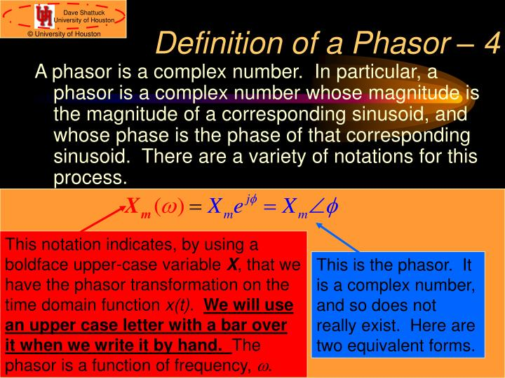 Definition of a Phasor – 4