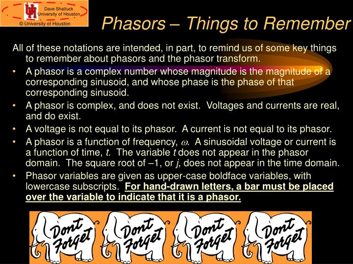 Phasors – Things to Remember