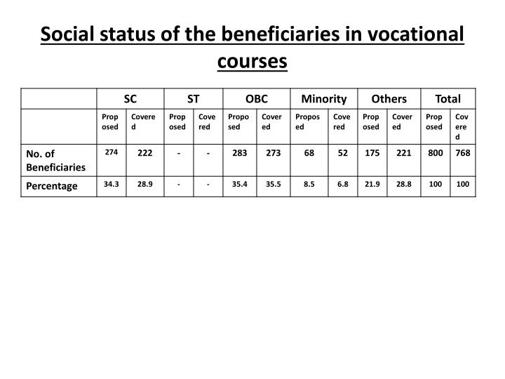 Social status of the beneficiaries in vocational courses
