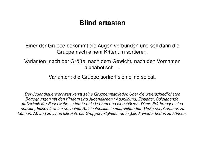 Blind ertasten
