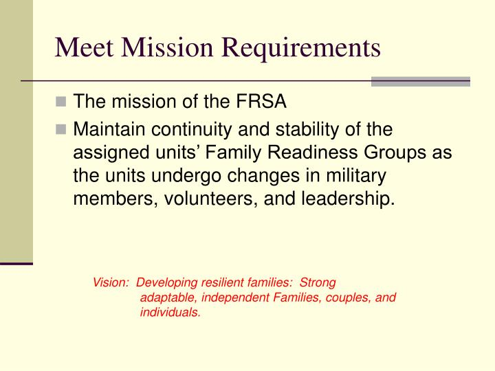 Meet Mission Requirements
