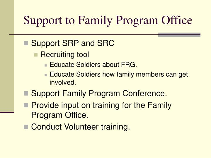 Support to Family Program Office