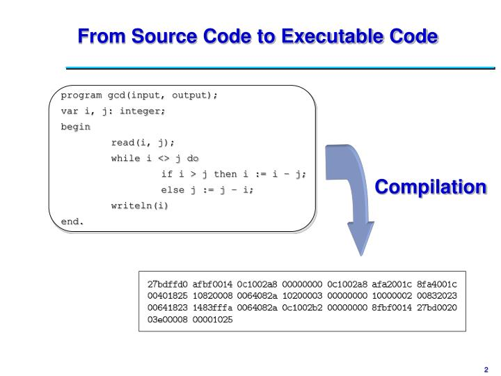 From source code to executable code