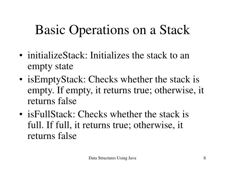 Basic Operations on a Stack