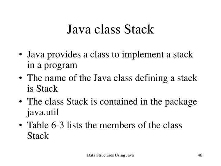 Java class Stack