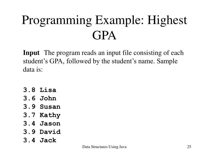 Programming Example: Highest GPA