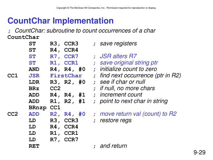 CountChar Implementation