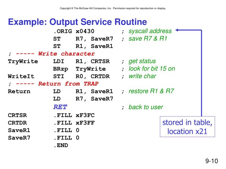 Example: Output Service Routine