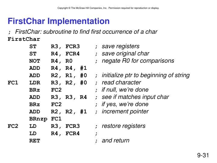 FirstChar Implementation