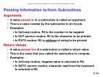 passing information to from subroutines