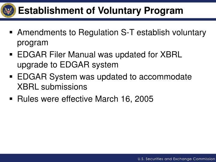 Establishment of Voluntary Program