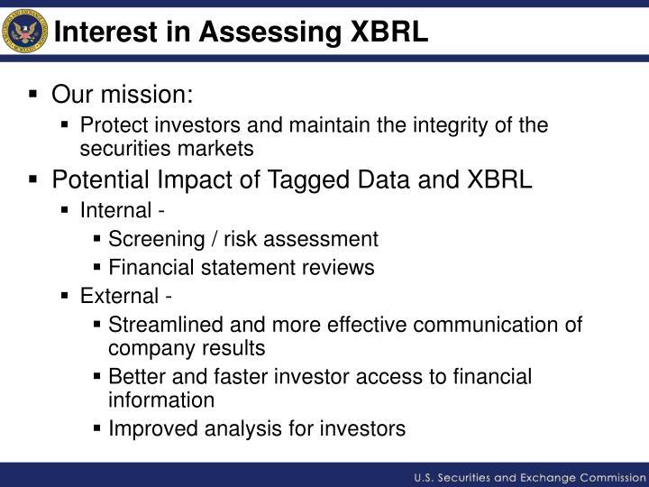 Interest in Assessing XBRL