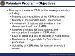 voluntary program objectives