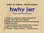 spirit of adonai ruach adonai hwhy jwr practice and planning to use