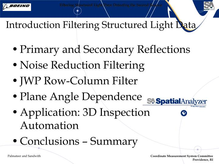 Introduction filtering structured light data