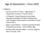age of absolutism circa 1650