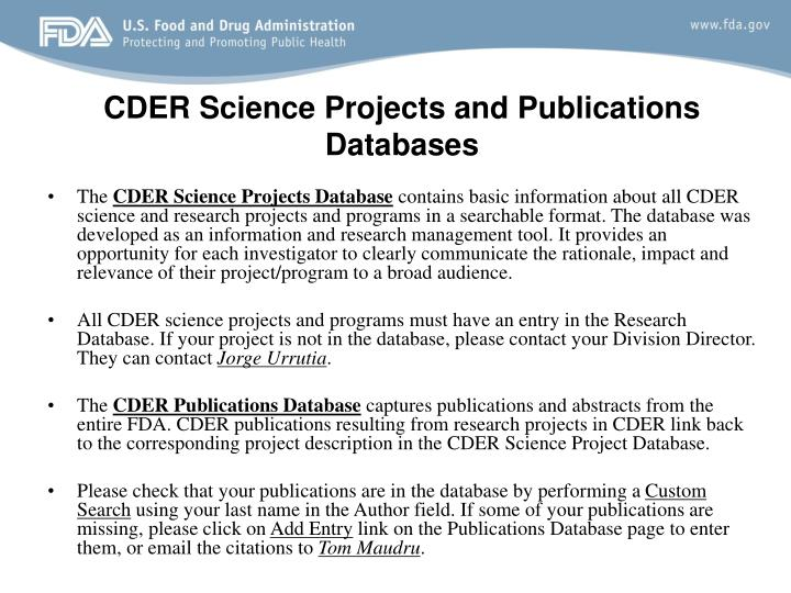 CDER Science Projects and Publications Databases