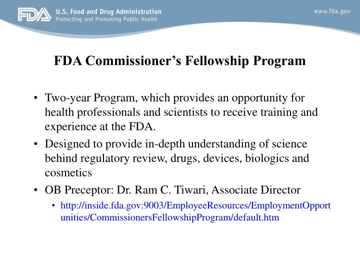 FDA Commissioner's Fellowship Program
