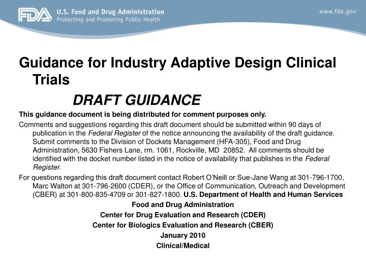 Guidance for Industry Adaptive Design Clinical Trials