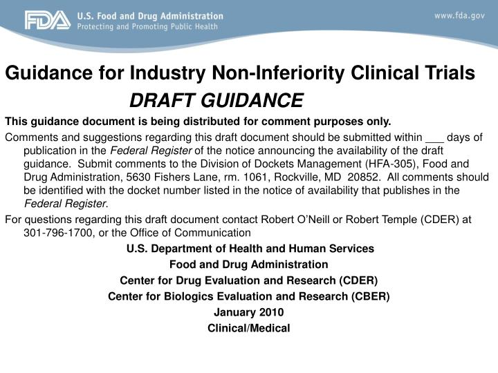 Guidance for Industry Non-Inferiority Clinical Trials