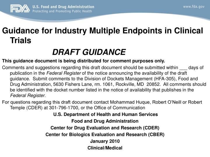 Guidance for Industry Multiple Endpoints in Clinical Trials
