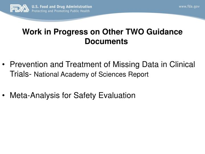Work in Progress on Other TWO Guidance Documents