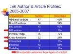 jsr author article profiles 2005 2007
