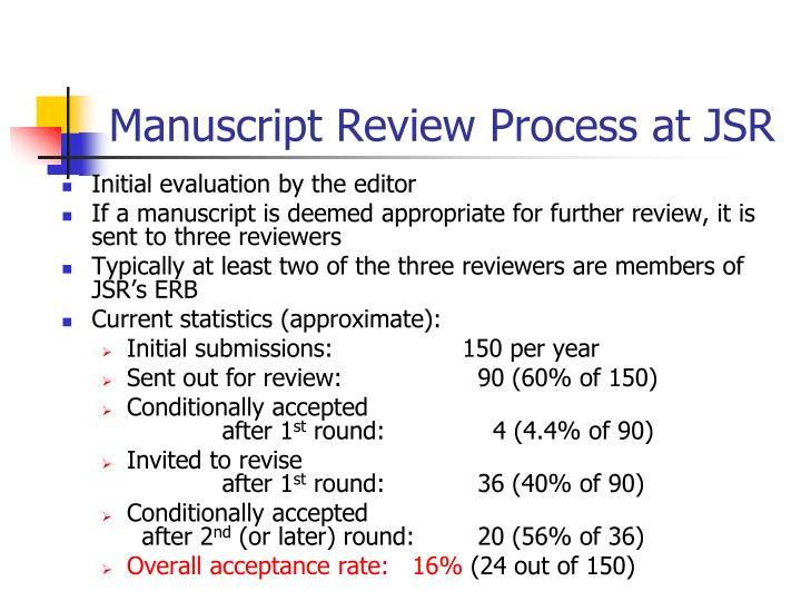 Manuscript Review Process at JSR