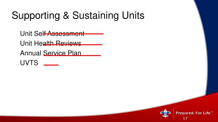 Supporting & Sustaining Units