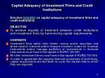 capital adequacy of investment firms and credit institutions
