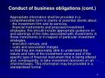 conduct of business obligations cont