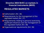 directive 2004 39 ec on markets in financial instruments mifid5