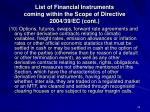 list of financial instruments coming within the scope of directive 2004 39 ec cont1