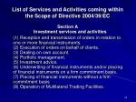 list of services and activities coming within the scope of directive 2004 39 ec