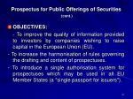 prospectus for public offerings of securities cont