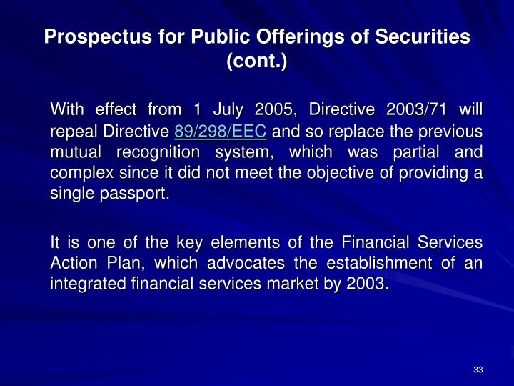 Prospectus for Public Offerings of Securities