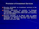 provision of investment services