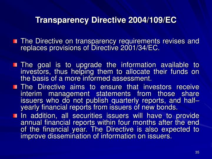 Transparency Directive 2004/109/EC