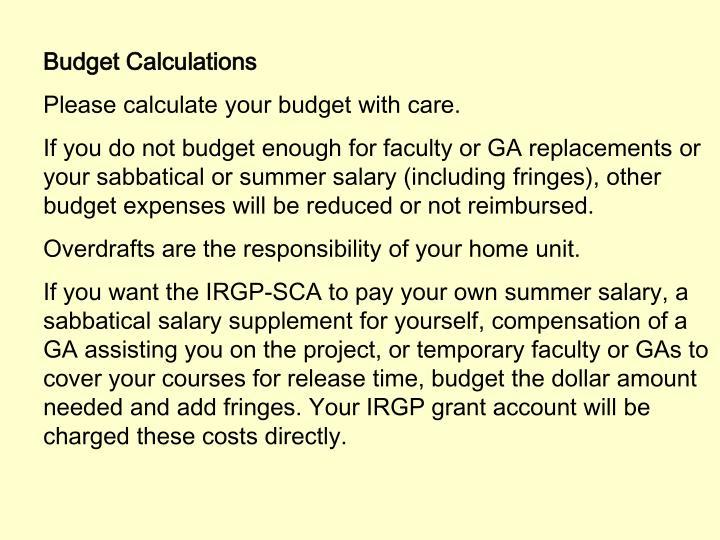 Budget Calculations