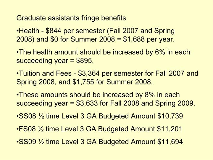 Graduate assistants fringe benefits
