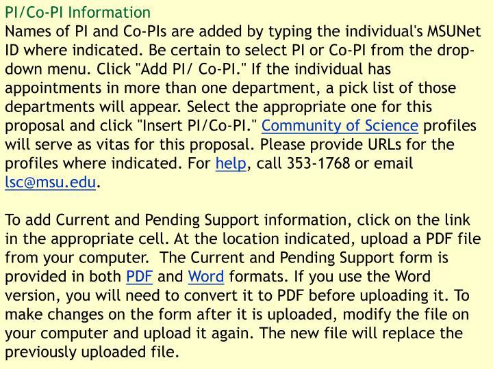 PI/Co-PI Information