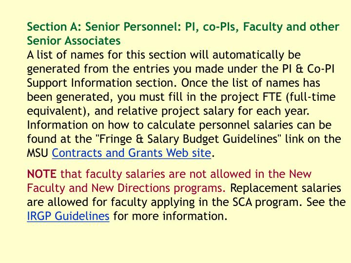 Section A: Senior Personnel: PI, co-PIs, Faculty and other Senior Associates
