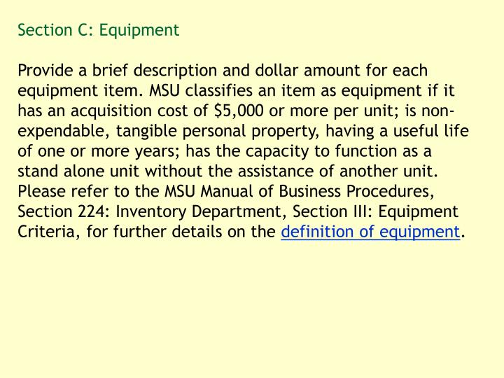 Section C: Equipment