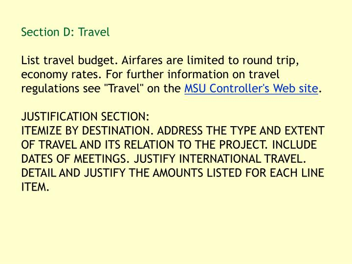 Section D: Travel