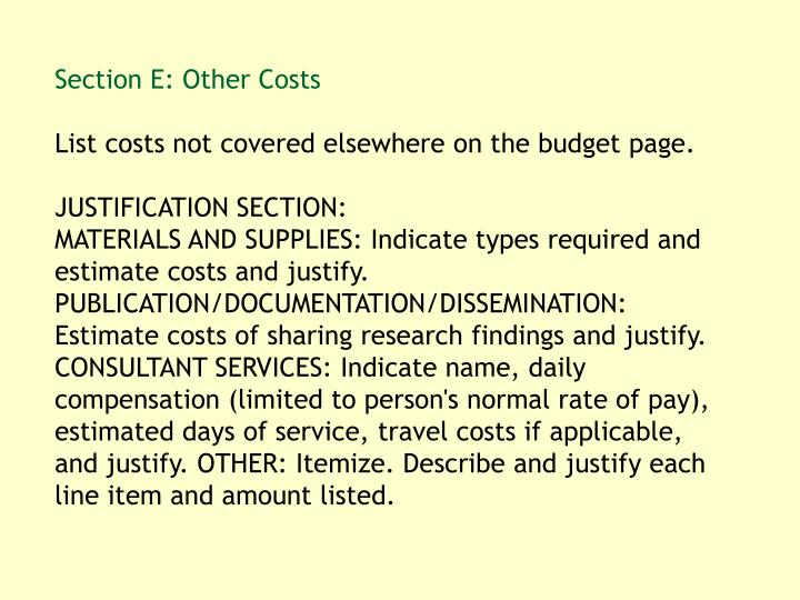 Section E: Other Costs